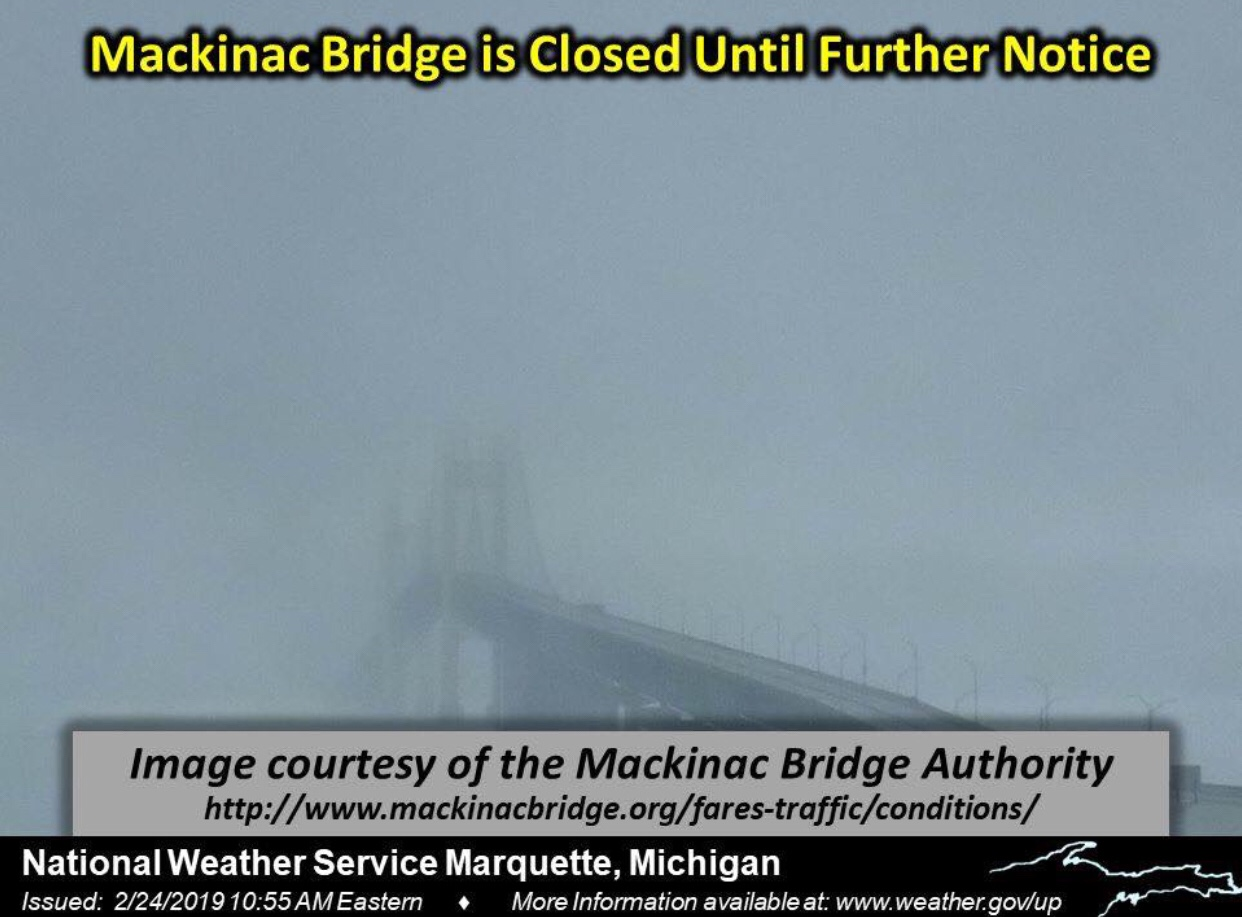Mackinac Bridge Closed Until Further Notice