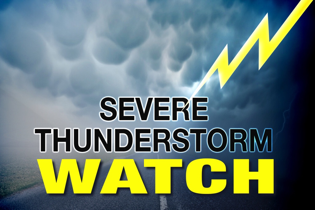 Severe Thunderstorm Watch Issued Until 10:00 p.m.