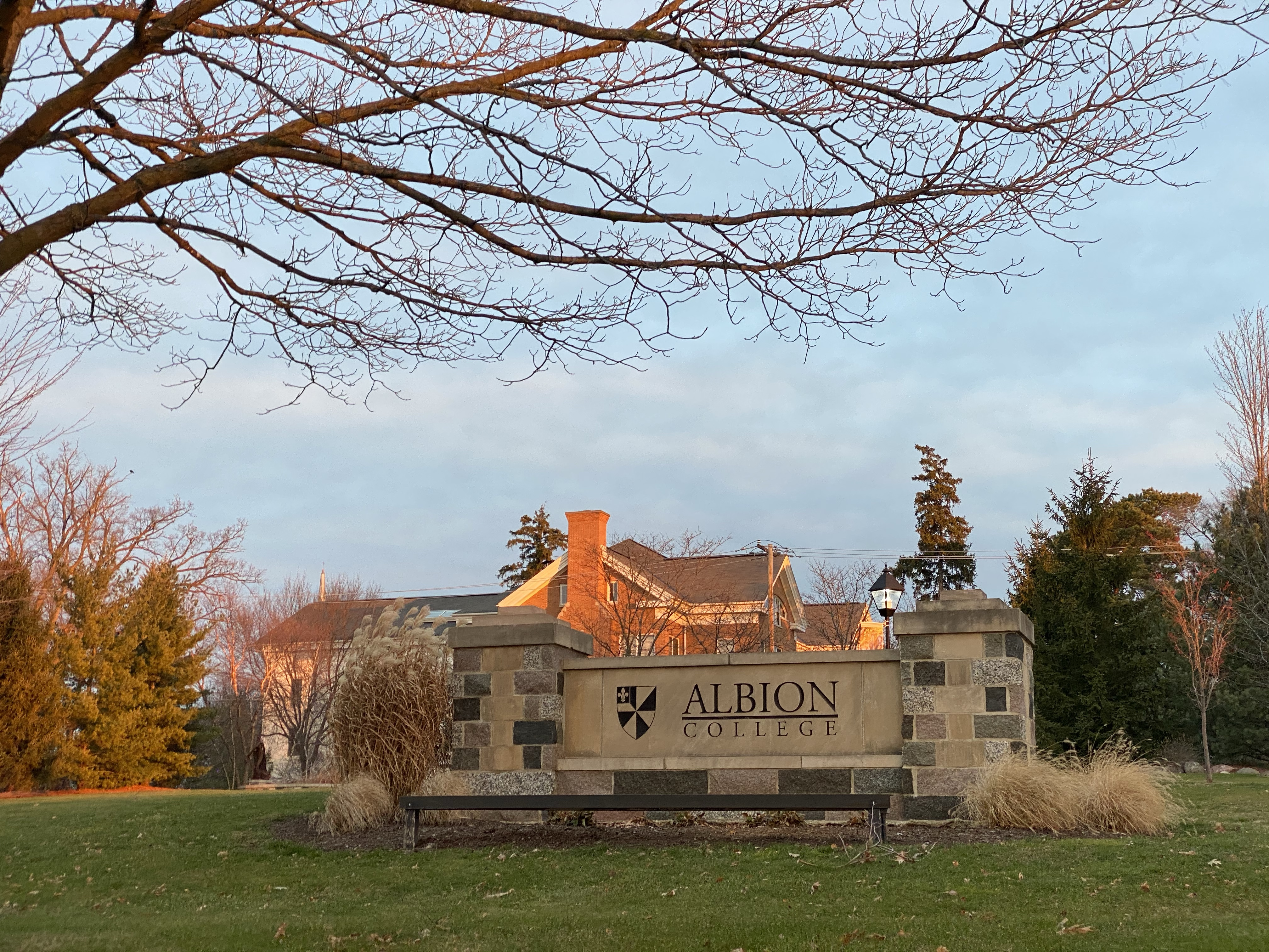 Albion College Campus Sign Sunrise