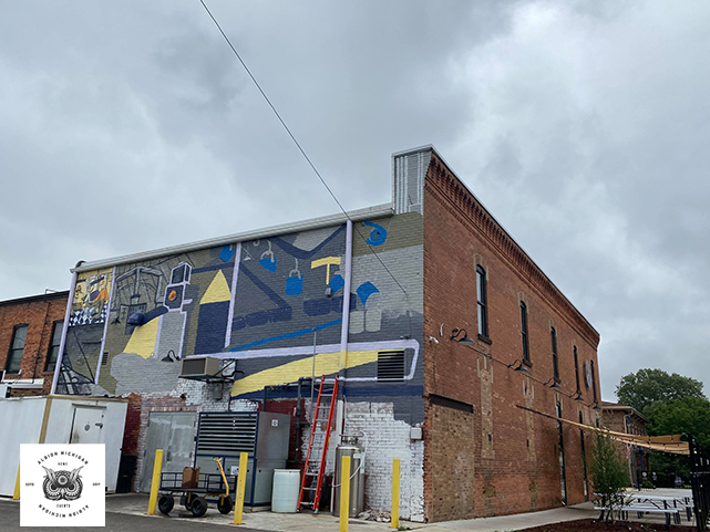 Update May 28th, 2021 Mural Progress  honoring Albion Michigan's manufacturing history