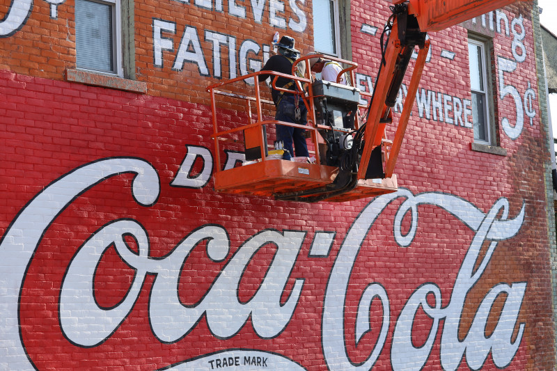 Downtown Albion, MI Coca-Cola Sign gets a makeover.