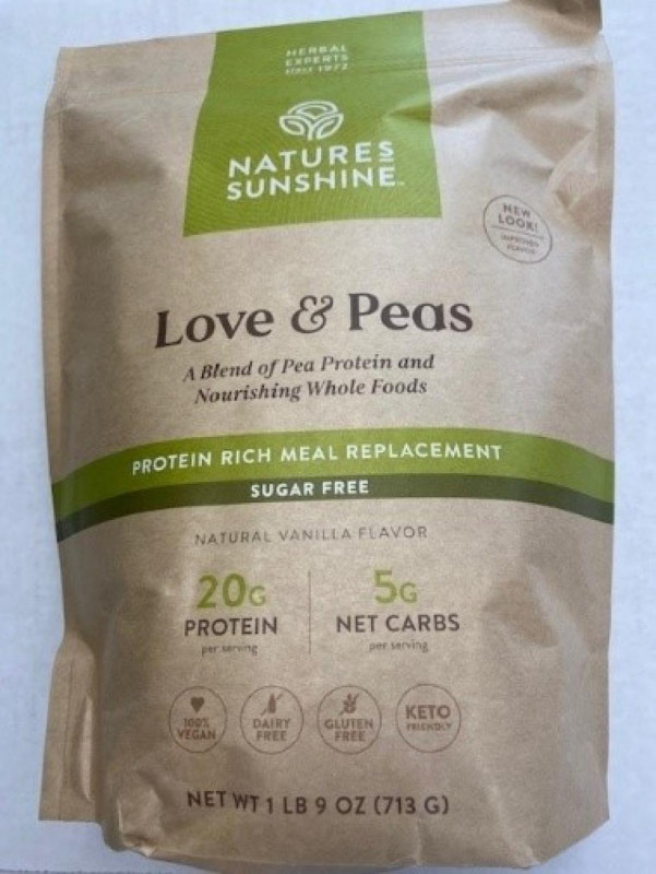 """Nature's Sunshine Issued Allergy Alert on Undeclared Milk in its """"Love & Peas"""" Meal Replacement Shake"""